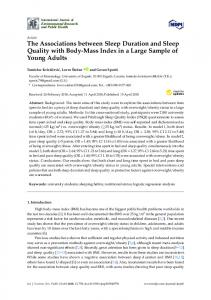 The Associations between Sleep Duration and