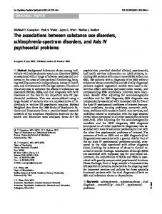 The associations between substance use disorders ... - Springer Link