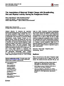 The Associations of Maternal Weight Change with ... - Springer Link