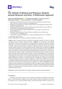 The Attitude of Medical and Pharmacy Students towards ... - MDPI