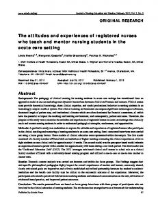 The attitudes and experiences of registered nurses ... - Sciedu Press