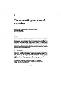 The automatic generation of narratives
