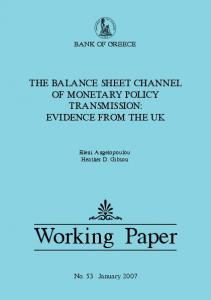 The Balance Sheet Channel of Monetary Policy Transmission