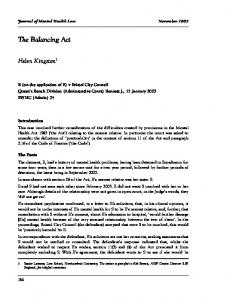 The Balancing Act - Northumbria Journals