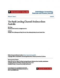 The Bank Lending Channel - Research Outputs Repository