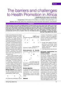 The barriers and challenges to Health Promotion in Africa