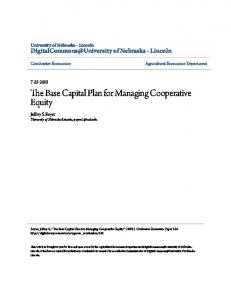 The Base Capital Plan for Managing Cooperative Equity