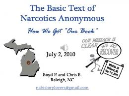 The Basic Text of Narcotics Anonymous