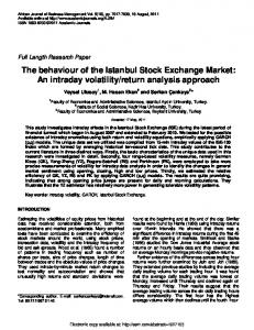 The behaviour of the Istanbul Stock Exchange Market ... - SSRN papers