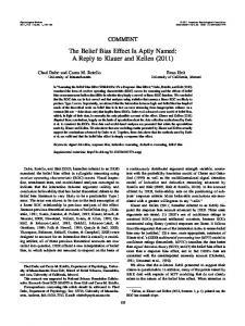 The Belief Bias Effect Is Aptly Named: A Reply to Klauer and Kellen ...