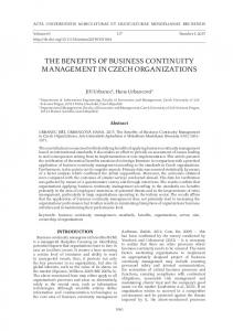 the benefits of business continuity management in czech organizations