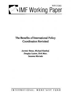 The Benefits of International Policy Coordination Revisited - IMF