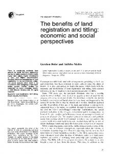 The benefits of land registration and titling