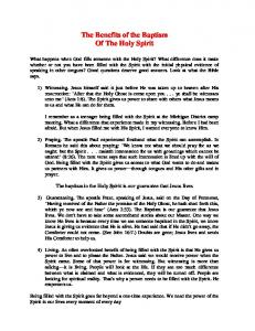 The Benefits Of The Baptism By The Holy Ghost