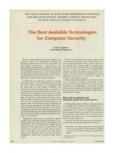 The Best Available Technologies for Computer Security - Carl Landwehr