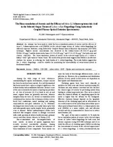 The Bioaccumulation of Arsenic and the Efficacy of ... - Semantic Scholar