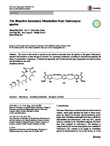The Bioactive Secondary Metabolites from ... - Springer Link