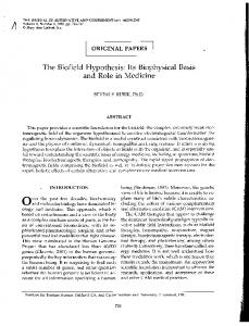 The Biofield Hypothesis by Beverly Rubik (click for ... - Energy Medicine