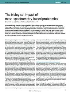 The biological impact of mass-spectrometry-based proteomics