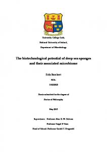 The biotechnological potential of deep sea sponges ...
