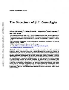 The Bispectrum of f(R) Cosmologies - CalTech Authors