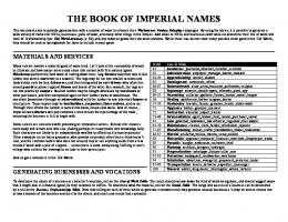 THE BOOK OF IMPERIAL NAMES