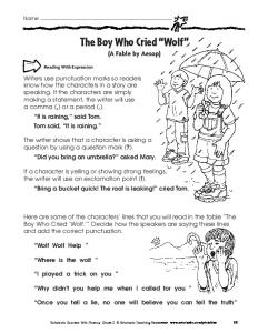 "The Boy Who Cried ""Wolf"" - Scholastic"