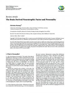 The Brain Derived Neurotrophic Factor and Personality