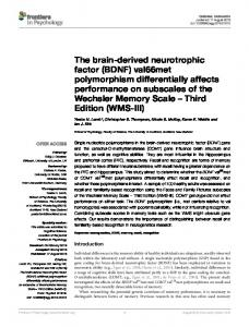 The brain-derived neurotrophic factor (BDNF) - Semantic Scholar