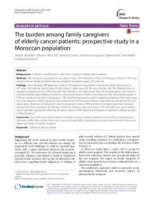 The burden among family caregivers of elderly cancer patients ...