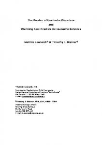 The Burden of Headache Disorders and Planning Best Practice in ...