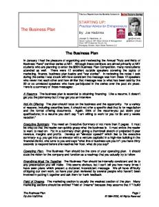 The Business Plan - MIT