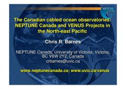 The Canadian cabled ocean observatories: NEPTUNE Canada and ...
