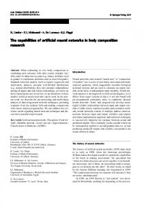 The capabilities of artificial neural networks in body ... - Springer Link