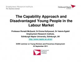 The Capability Approach and Disadvantaged Young People in the ...