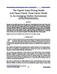 The Capital Asset Pricing Model And Fama-French Three Factor