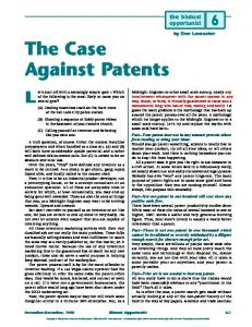 The Case Against Patents