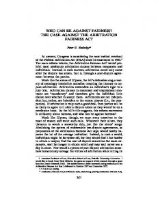 the case against the arbitration fairness act - Cardozo Journal of ...