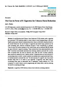 The Case in Favor of E-Cigarettes for Tobacco Harm Reduction - MDPI