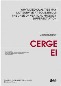 the case of vertical product differentiation - cerge-ei