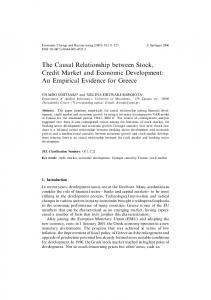 The Causal Relationship between Stock, Credit Market and Economic ...