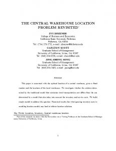 the central warehouse location problem revisited - CiteSeerX