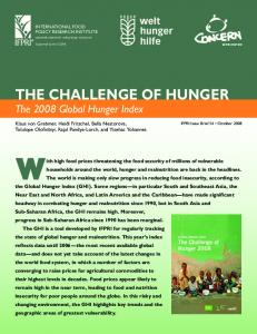 The Challenge of Hunger: The 2008 Global Hunger ... - AgEcon Search