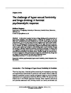The challenge of hyper-sexual femininity and binge drinking: A ...