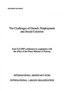 The Challenges of Growth, Employment and Social Cohesion