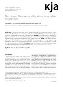 The changes of heart rate variability after unilateral ... - Semantic Scholar