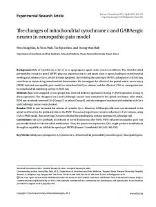 The changes of mitochondrial cytochrome c and