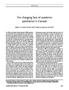 The changing face of academic paediatrics in Canada