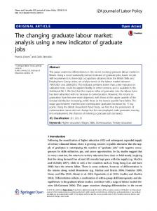 The changing graduate labour market: analysis using a new indicator ...