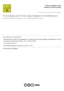 The Changing role of Asian Labour Migration in the ...